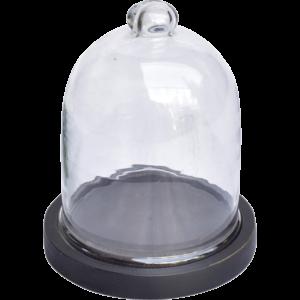 Fin lille glasklokke med træbund – sort