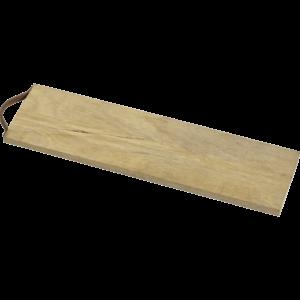 Langt tapasbræt i træ og med læderstrop