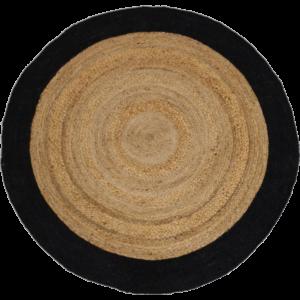 Håndvævet jute tæppe m/sort kant Ø 150 cm